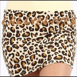 New! Stasia Exotic Panther Tan Taupe Skirt